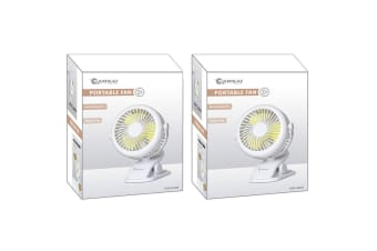 2x Sansai Rechargeable Desktop Fan - White