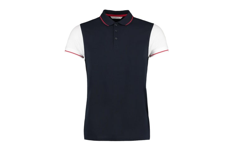 Kustom Kit Mens Two Tone Contrast Tipped Polo Shirt (Navy/White/Red) (XL)