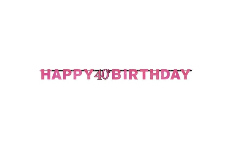 Amscan Prism Pink Happy Birthday Letter Banner (Pink) (60th)