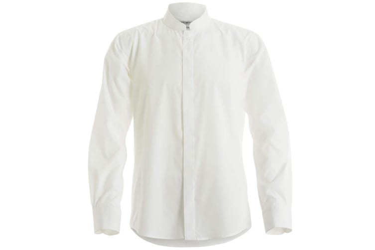Kustom Kit Mens Mandarin Collar Fitted Long Sleeve Corporate Shirt (White) (M)