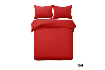 Denver Embossed Quilt Cover Set Red King by Designer Selection