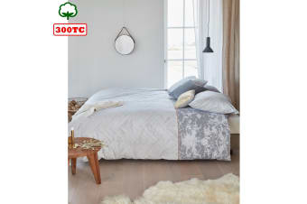 300TC Cotton Percale Quilt Cover Set Faye Grey by Bedding House