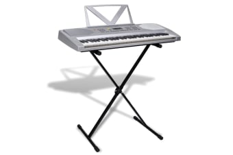 vidaXL 61-key Electric Keyboard with Music Stand + Adjustable Keyboard Stand