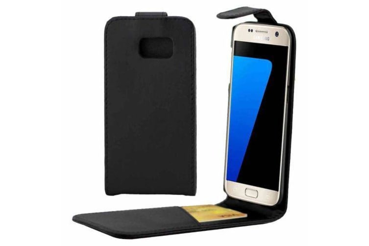reputable site 16536 32031 For Samsung Galaxy S7 Case Stylish Vertical Flip Durable Protective Cover  Black
