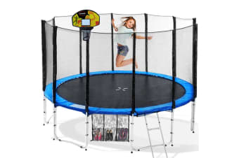 Blizzard 14ft Trampoline with Basketball Set -  Blue