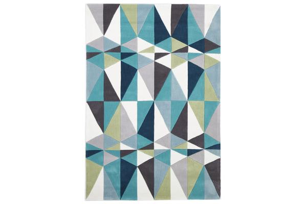 Blue and Grey Crystal Design Rug 280x190cm