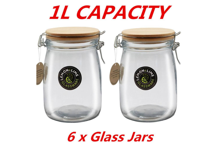 6 x Round Food Storage Jar 1000ml 1L Glass Jars Canister Container Wooden Clip Lid