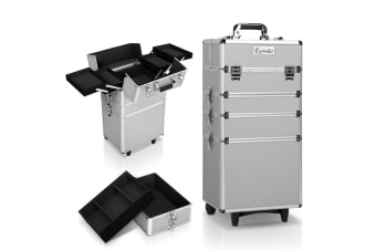 7 in 1 Portable Beauty Make up Cosmetic Trolley Case (Silver)