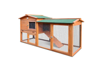 Chicken Coop Run Large Wood Outdoor Rabbit Hutch Hen Cage House - 180cm