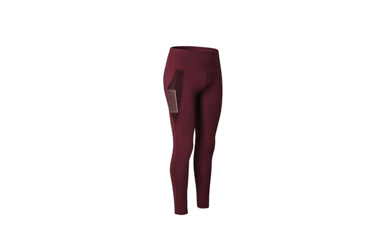 Women Sports Trouser Gym Workout Fitness Yoga Pant Legging With Side Pocket - Wine Red Red L