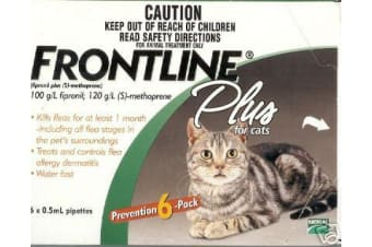 Frontline Plus for Cats - 6 Pack - Green - Flea Control Topical Drop Treatment