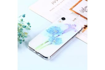 For iPhone XR Case Blue Flower Pattern TPU Protective Back Case Anti-Slip