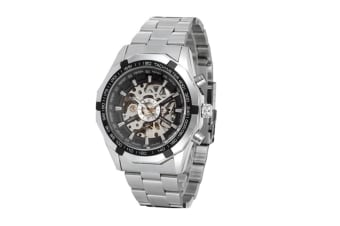 Men Full-Automatic Mechanical Skeleton Watch Black