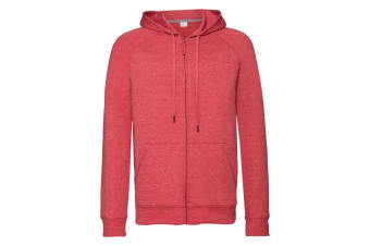 Russell Mens HD Zipped Hood Sweatshirt (Red Marl) (2XL)
