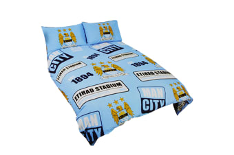 Manchester City FC Official Patch Football Crest Duvet Cover Bedding Set (Sky Blue)
