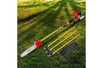 75cc Pole Chainsaw Brush Cutter Tree Hedge Pruner Petrol Brush Long
