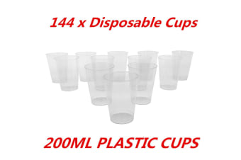 144 x 200ml Disposable Clear Hard Plastic Tumblers Cups Cup Party Wedding Events