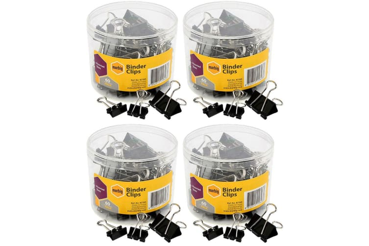 240PC Marbig Fold Back/Binder Clips - Assorted Sizes