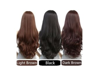 Long Wavy Curly Full Hair Wigs w Side Bangs Cosplay Costume Fancy Anime Womens - Light Brown