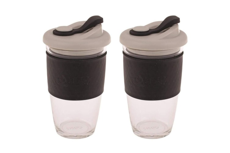 2x Oasis 454ml Borosilicate Glass Hot Cold Drinking Eco Cup Coffee Drink Mug BLK