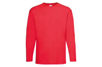 Mens Value Long Sleeve Casual T-Shirt (Bright Red)