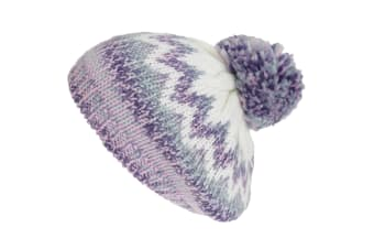 Hawkins Collection Womens/Ladies Knitted Bobble Tam Hat (Purple/White) (One Size)