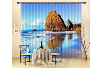 3D Seaside Stones 310 Curtains Drapes, 203cmx160cm(WxH) 80''x 63''