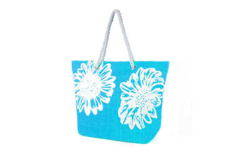 Womens/Ladies Floral Print Woven Summer Handbag (Turquoise) (One Size)