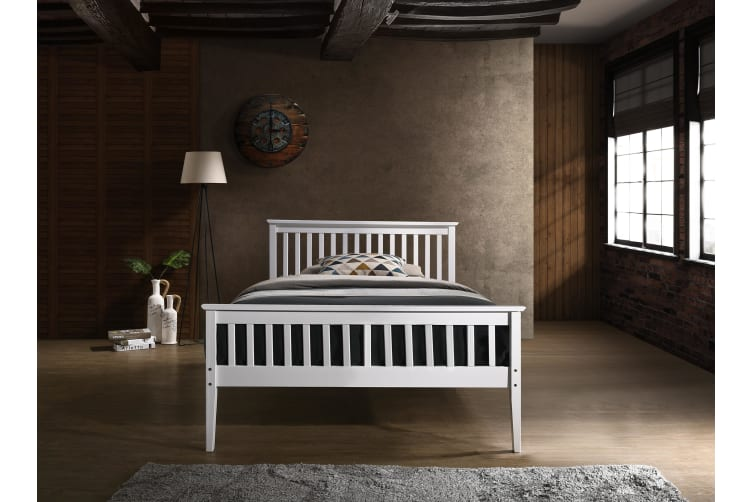 super popular 58794 5bba3 Timber Bed Frame in Queen Double King Single Size Wooden Slatted White