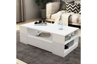 Modern Coffee Table 2 Drawers Cabinet Storage Shelf High Gloss Wood Living Room Furniture   White