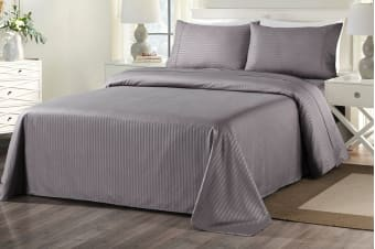 Royal Comfort 1000TC Blended Bamboo Bed Sheet Set with Stripes (Charcoal)