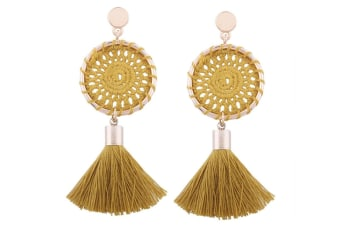 Elegant Paisley Inspired Embroidery Long Tassel Earrings Yellow