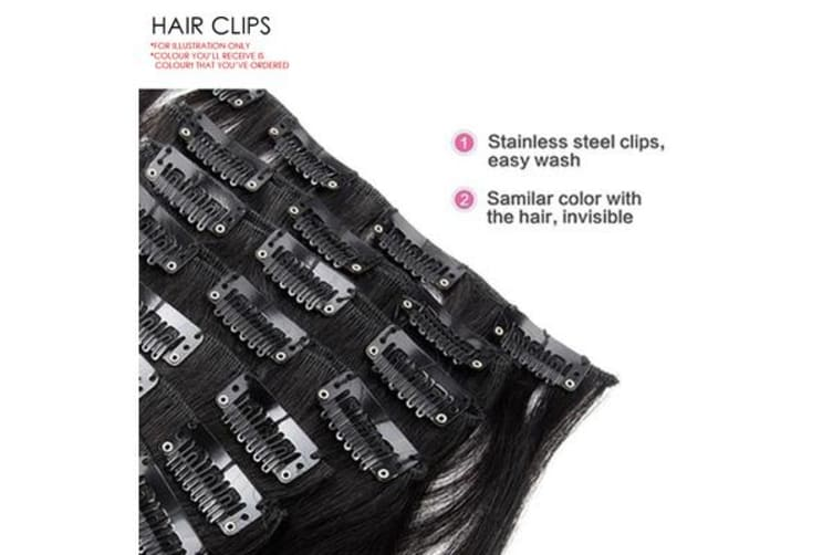 """TODO 24"""" High Grade Brown Light Brown Straight 6Piece 17Clips Hair Extension"""