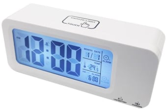 Portable Smart Lcd Alarm Clock Rechargeable Lithium Battery Date Temp White