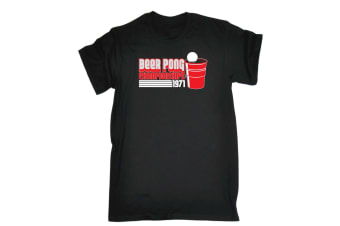 123T Funny Tee - Beer Pong Championships - (3X-Large Black Mens T Shirt)