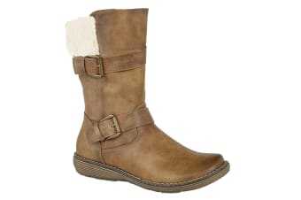 Cats Eyes Womens/Ladies Twin Buckle Mid Calf Boots (Tan)