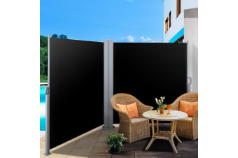 1.8MX6M Retractable Double Side Awning Privacy Screen Shade Black