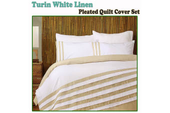 Turin White Linen Quilt Cover Set QUEEN