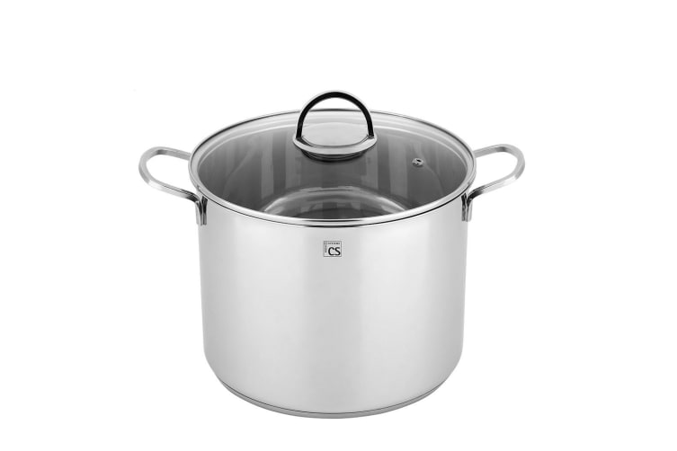 TRIER 10.5L Stainless Steel Stock Pot 24cm High Casserole Stockpot Lid Induction