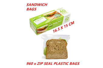 960 x Zip Seal Sandwich Bags Reusable Snack Lunch Pouches BPA Free Zip Lock