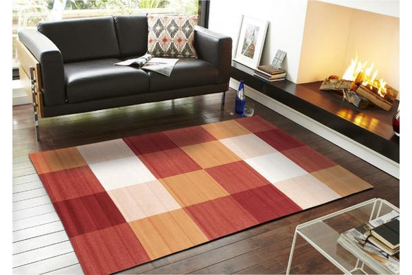 Modern Squares Rug Rust Red 230x160cm