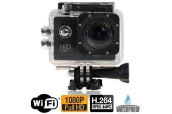 "Full Hd 1080P Sports Dv Camera 30M Waterproof + Wifi 1.5"" Lcd Mount Black"