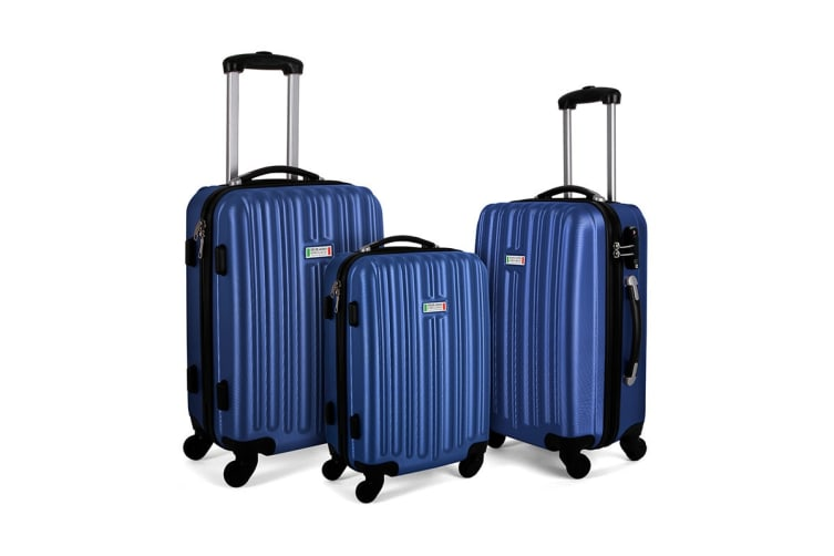 Milano ABS Luxury Shockproof Luggage 3 Piece Set (Blue)