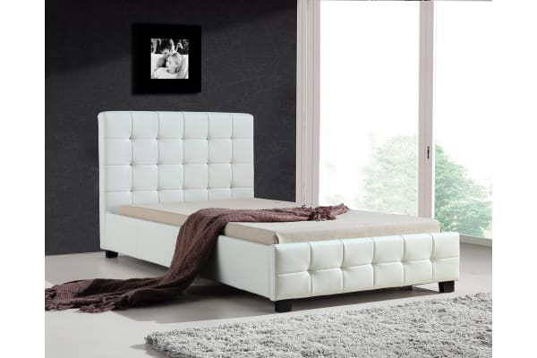 King Single PU Leather Deluxe Bed Frame White - Kogan.com