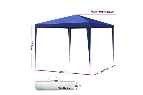 Instahut 3x3m Gazebo Tent Party Wedding Event Marquee Shade Canopy Camping Blue