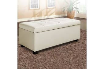 Artiss Storage Ottoman Large PU Leather Chest Blanket Toy Box Bed Seat Cream WH