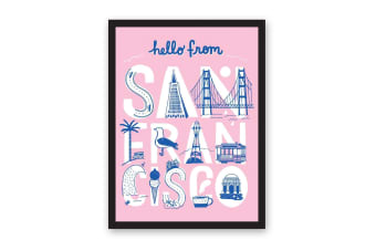 Hello From San Francisco A3 Riso Print (Pink/White/Blue) (One Size)