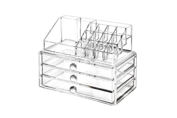 Acrylic Makeup Organizer Container 5Mm Clear 3 Draws Cosmetic Lipstick Holder
