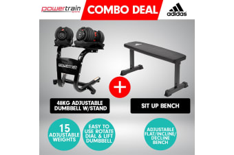 2x Powertrain 24kg Adjustable Dumbbells w/Stand and 10437 Adidas Bench