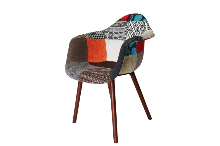 Replica Eames DAW Hal Inspired Chair | Multicoloured Patches V2 Fabric Seat | Walnut Legs